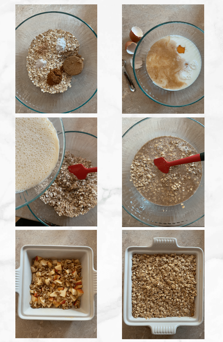 collage showing steps to make baked oatmeal