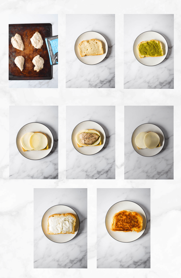 collage showing steps for chicken pesto sandwich