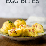 egg bites on a plate with text overlay of recipe name