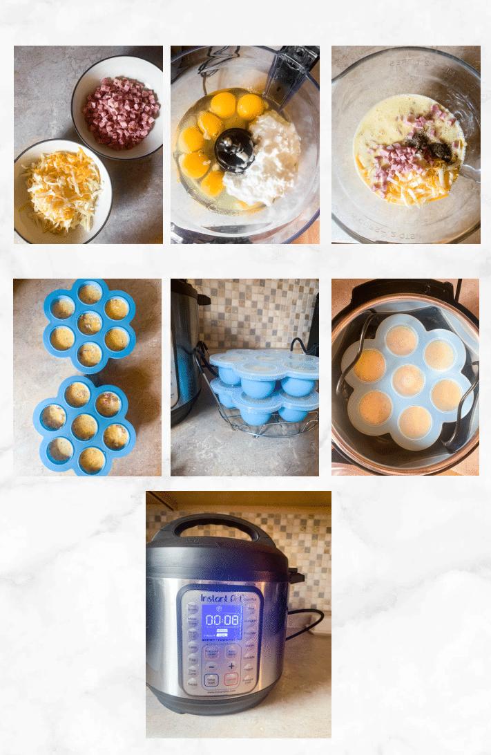 collage showing steps to make instant pot egg bites