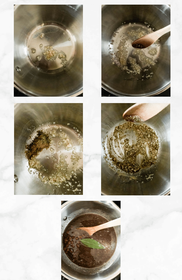 collage showing steps to make seasoned black beans