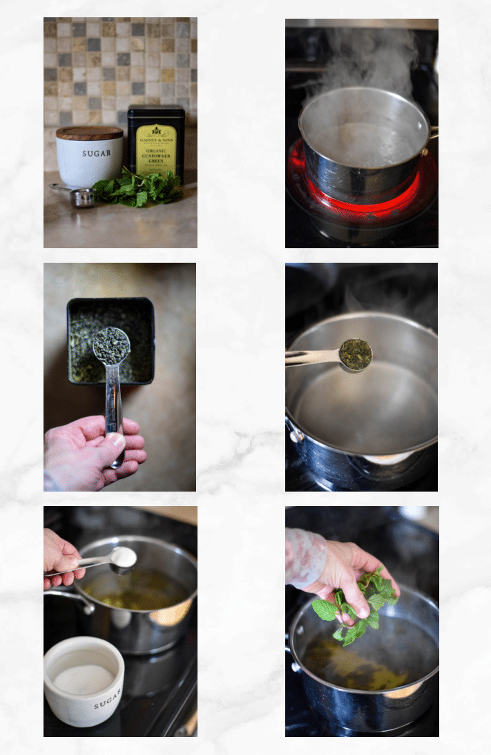 collage showing steps to make moroccan mint tea recipe
