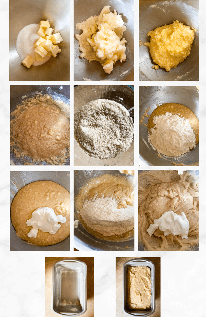 collage showing steps to make sourdough pound cake recipe