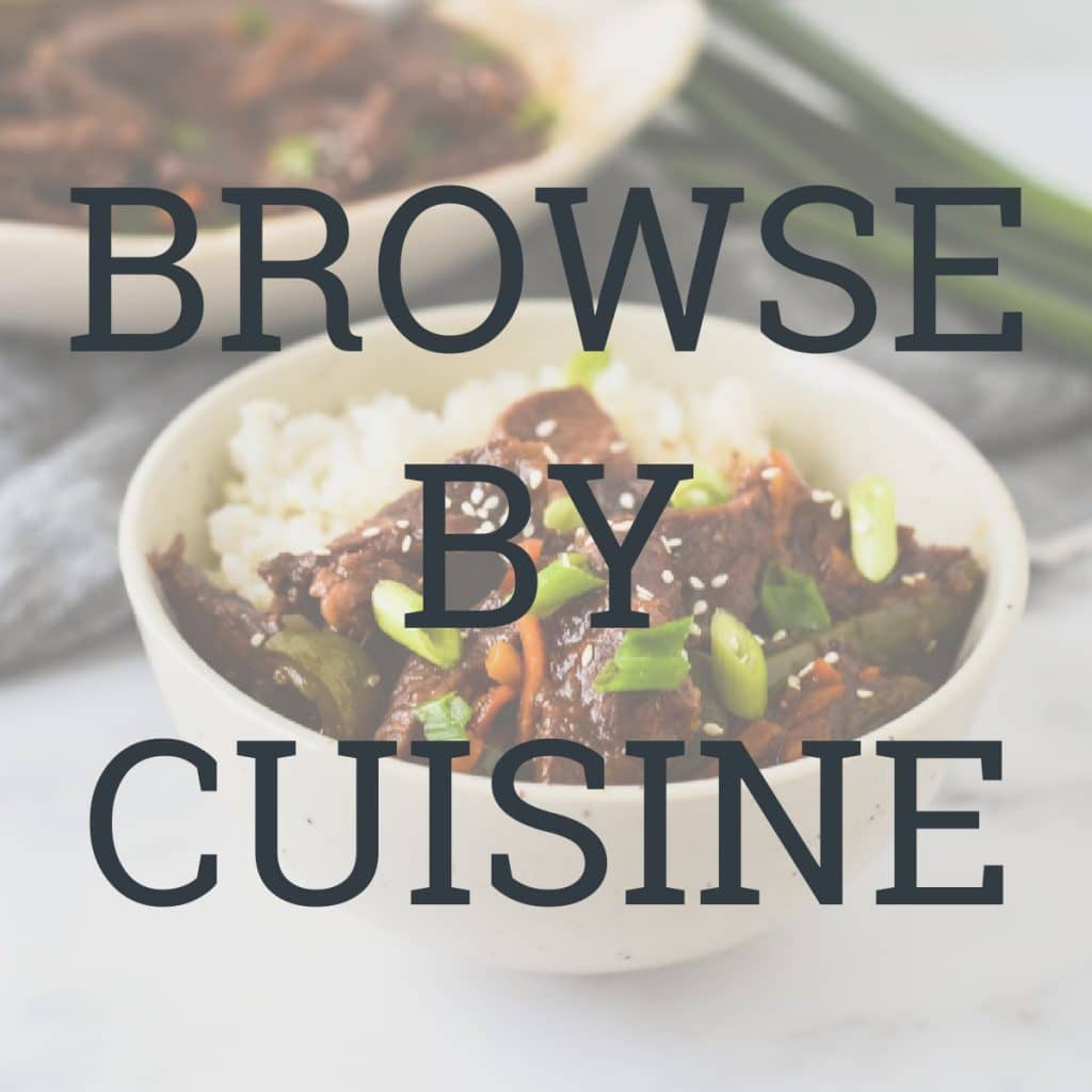 text with browse by cuisine