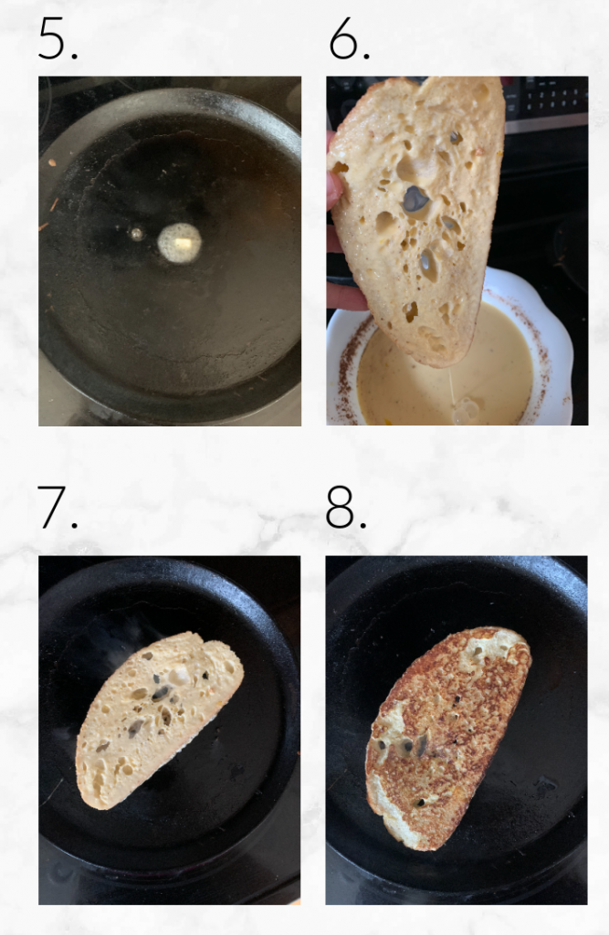 collage of images showing steps 5-8 to make French toast