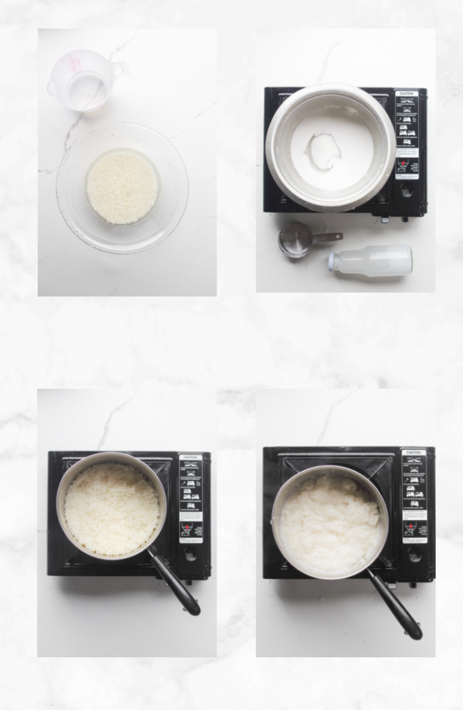 collage showing steps to make mango rice