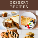 """collage with four images and text """"sourdough dessert recipes"""""""