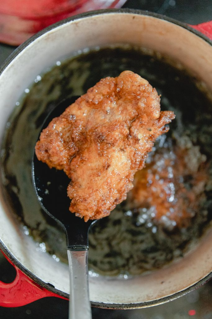 image showing how to fry chicken