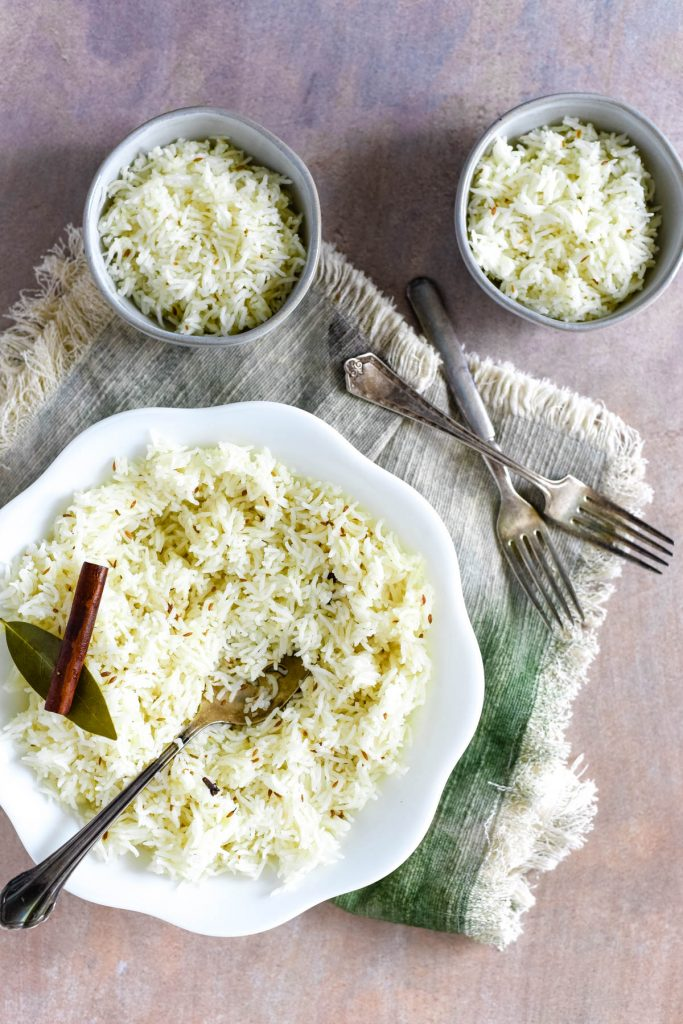 bowls of rice with forks
