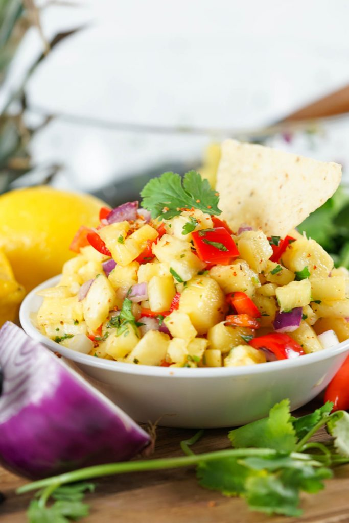 small bowl filled with pineapple salsa