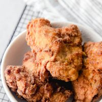 sourdough fried chicken in bowl