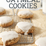 """oatmeal cookies with text overlay """"sourdough oatmeal cookies"""""""