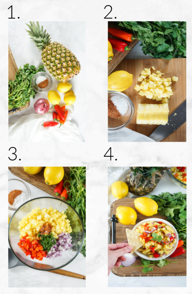 collage showing steps to make pineapple salsa