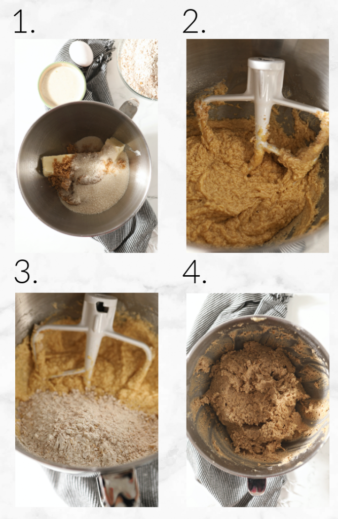 collage showing images of how to mix cookie dough