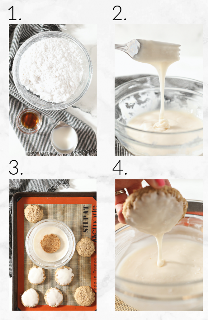 collage showing how to mix icing and ice the cookies