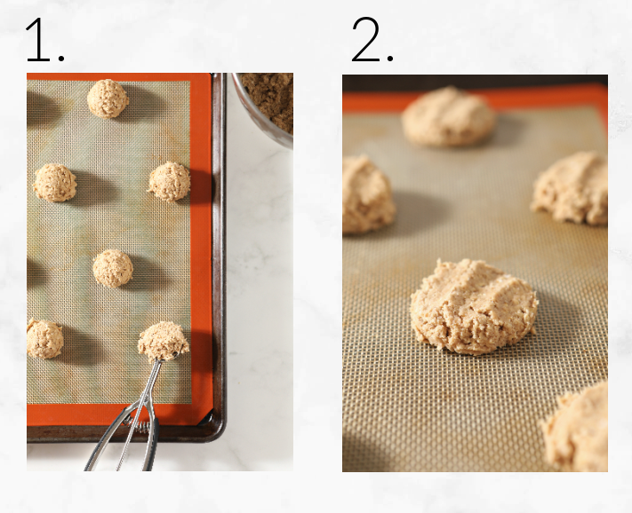 collage showing images of scooping and flattening cookie dough