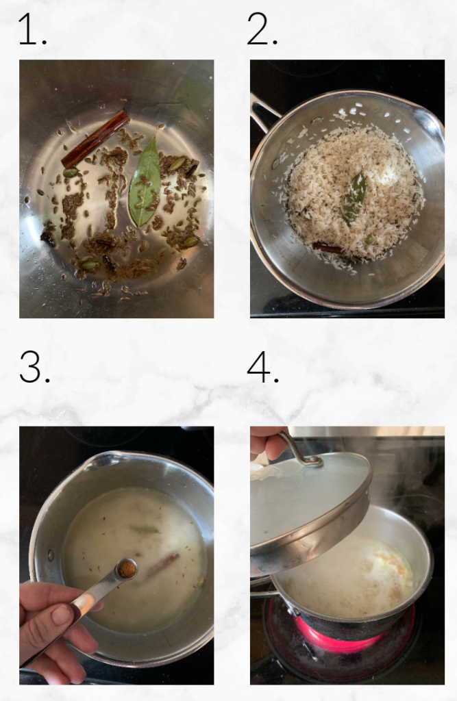 collage showing blooming spices, toasting rice, adding ingredients to pot and boiling water