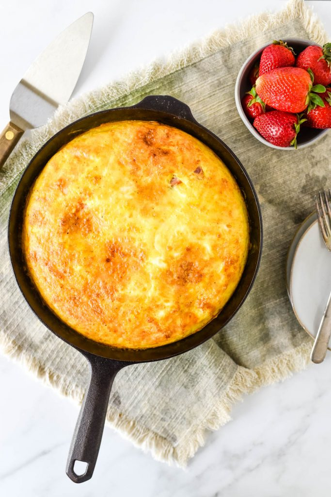 overhead view of frittata in skillet