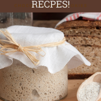 sourdough starter in jar with flour beside