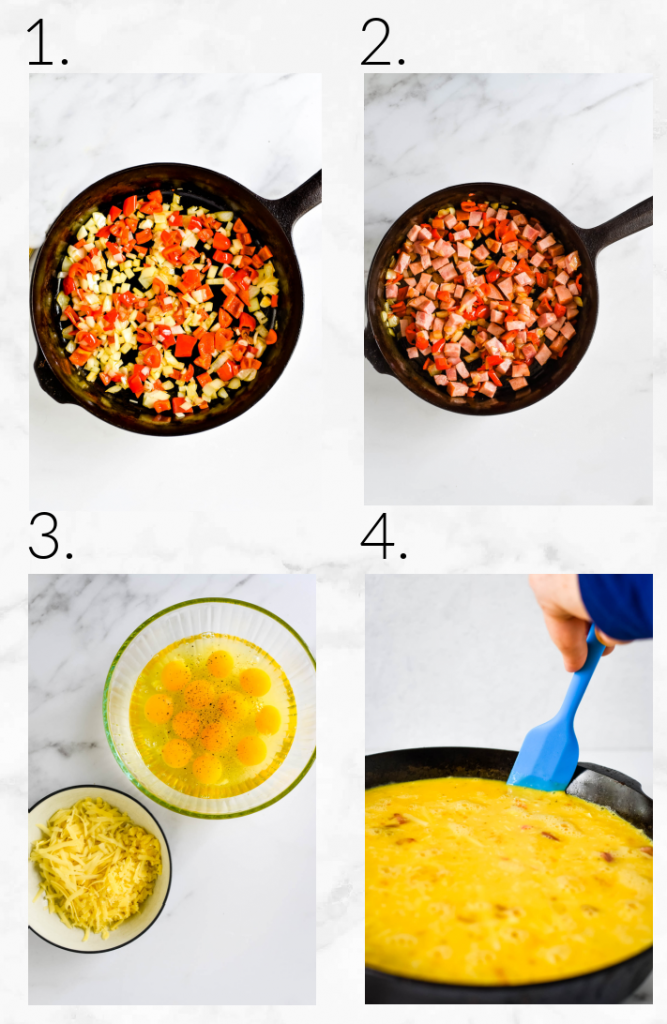collage showing steps to make frittata - sautéing onions, peppers, ham, mixing eggs, pouring into skillet