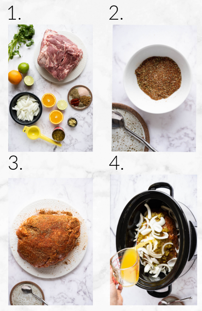 collage showing images to make caritas - ingredients, and adding ingredients to slow cooker
