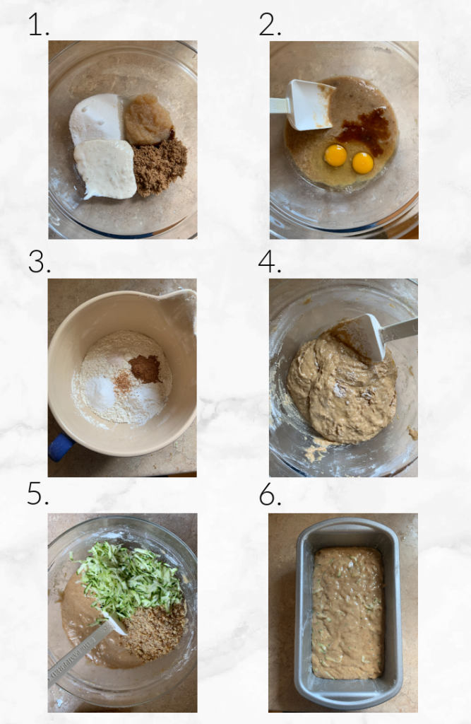 collage showing steps to make sourdough zucchini bread recipe