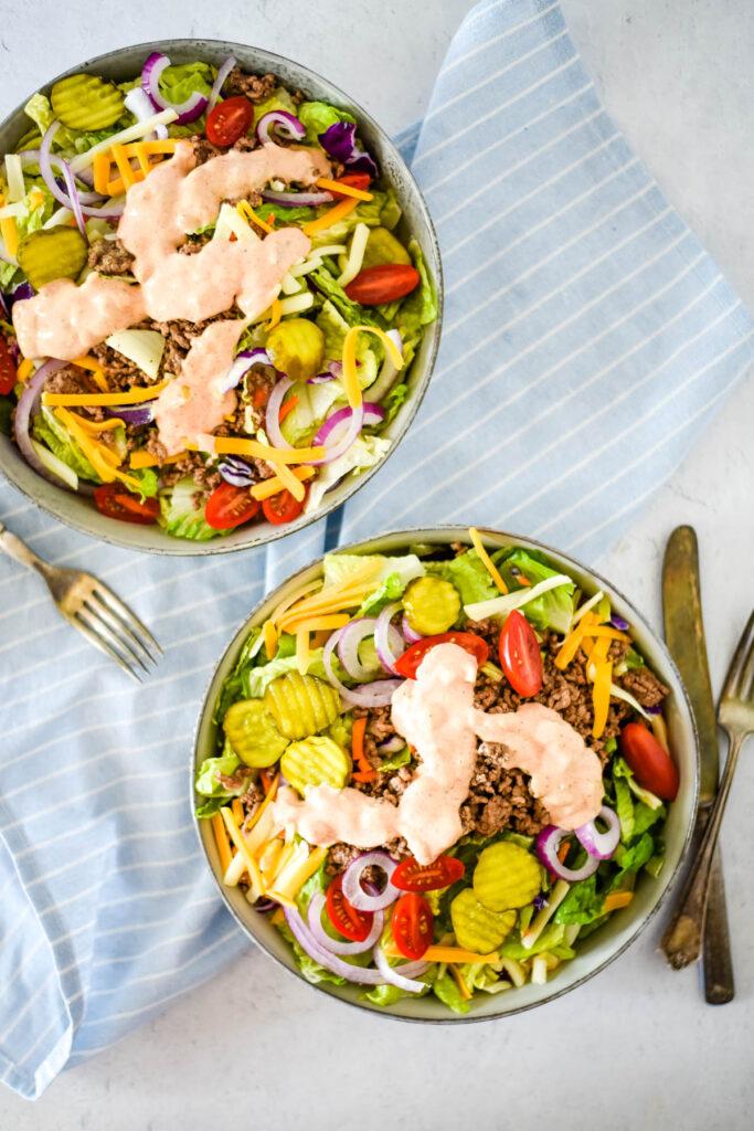 two bowls of cheeseburger salad