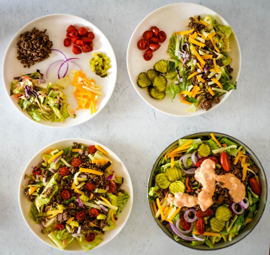 four plates showing how to serve salad to difference ages