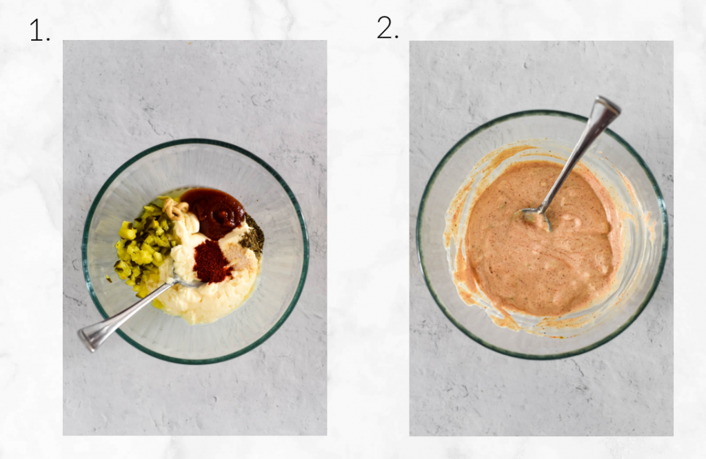 mixing up special sauce dressing in glass bowl