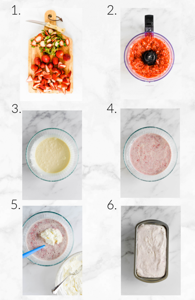 collage showing steps to make strawberry ice cream