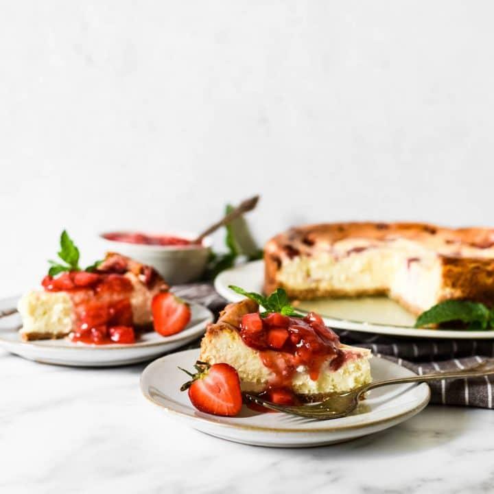 Baked Strawberry Swirl Cheesecake Recipe
