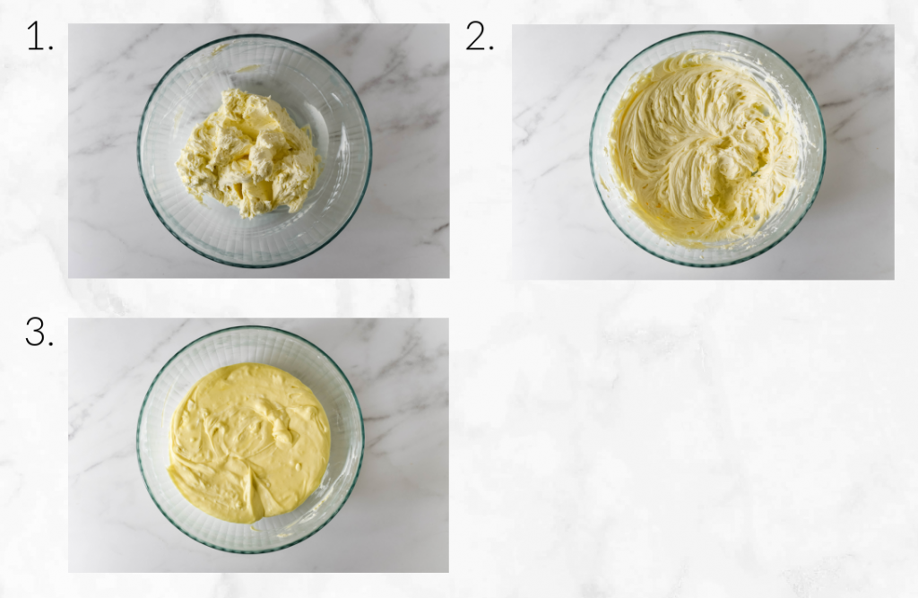 collage showing how to make cheesecake filling