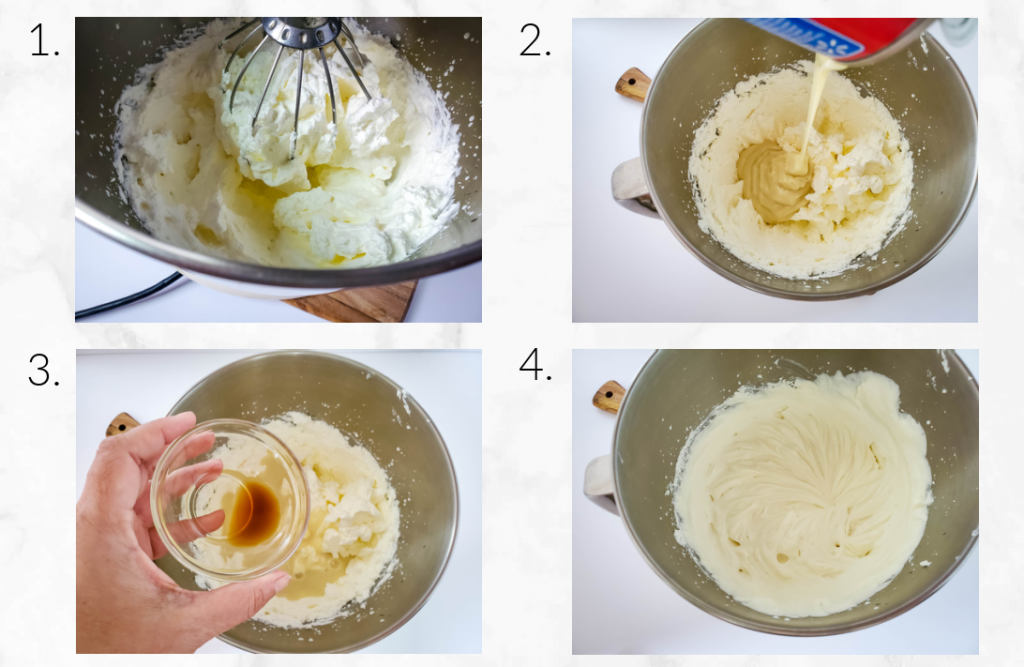 collage of images showing how to mix ice cream