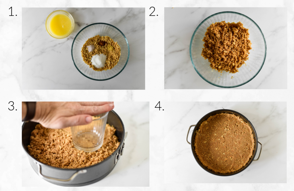 college showing how to mix and create graham cracker crust