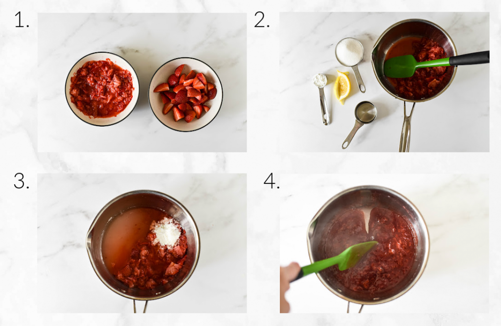 collage showing how to cook down strawberries for sauce