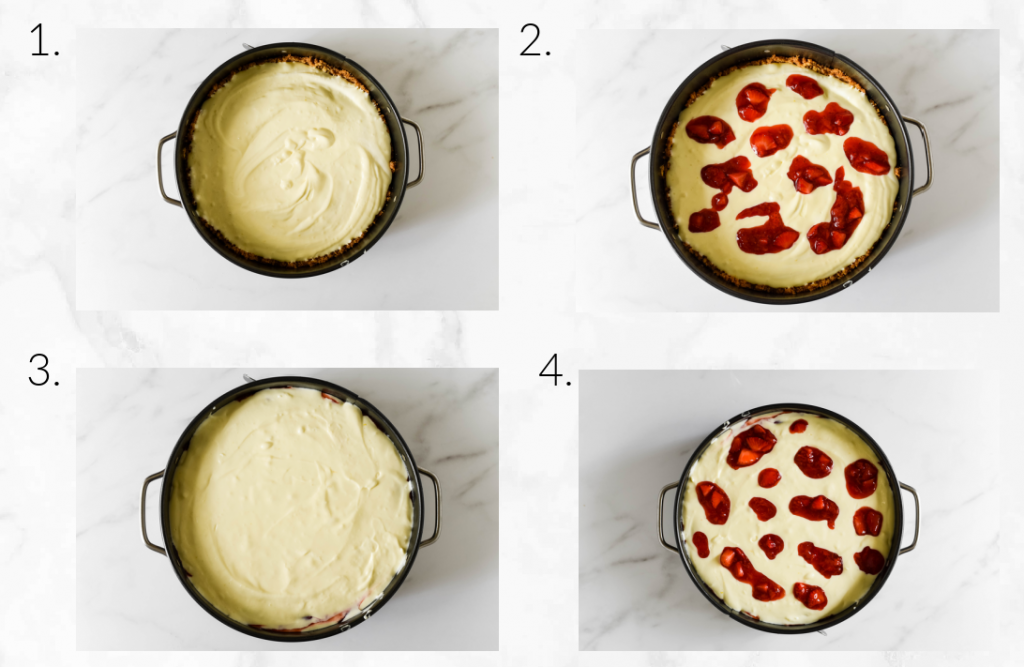 collage showing how to assemble cheesecake