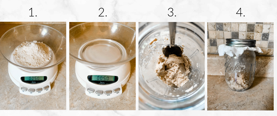 adding flour and water to mix starter