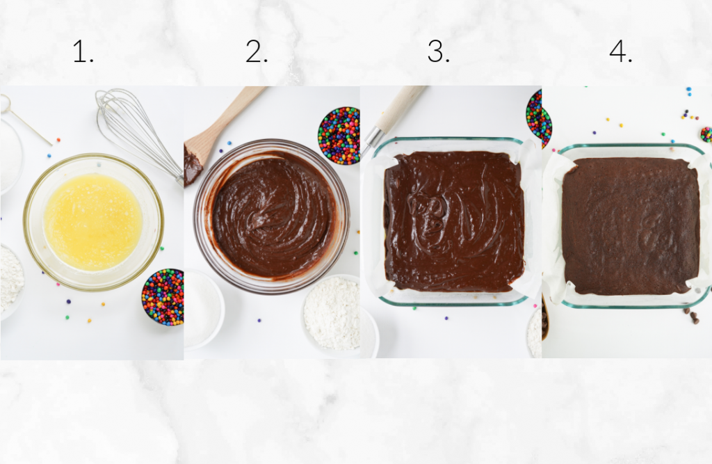 collage showing steps to mix brownie batter