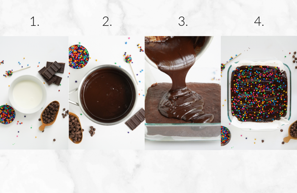 steps showing how to make ganache frosting