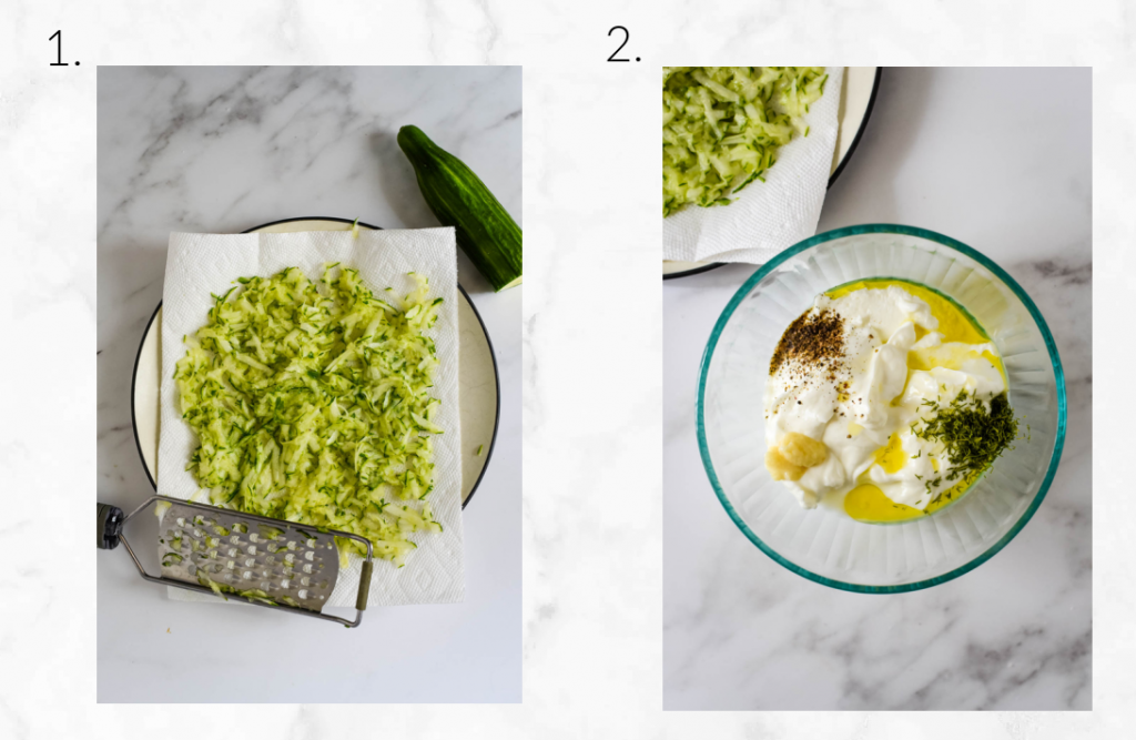 collage showing how to grate cucumber and mix tzatziki
