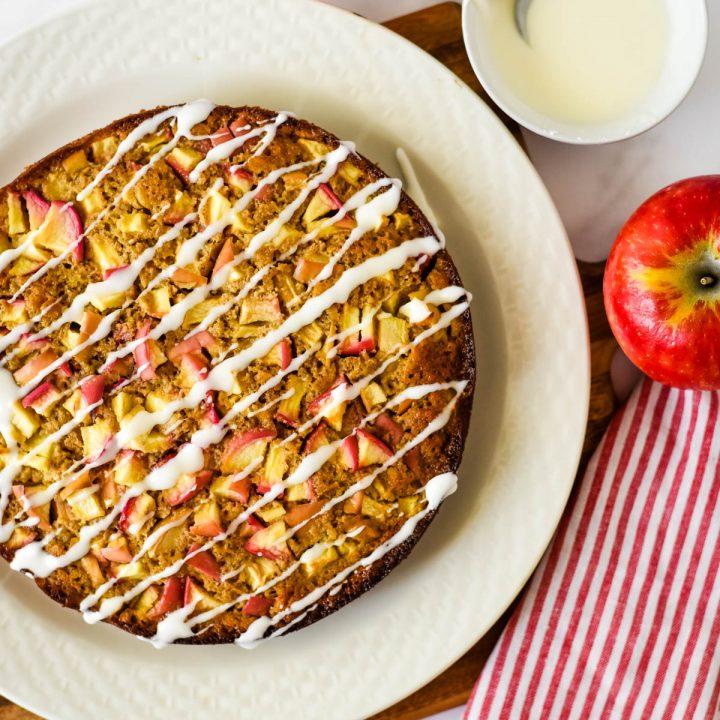 sourdough apple cake on platter
