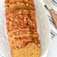 sourdough pumpkin bread on white platter