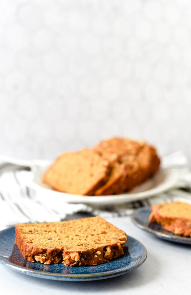 slices of pumpkin quick bread on plates