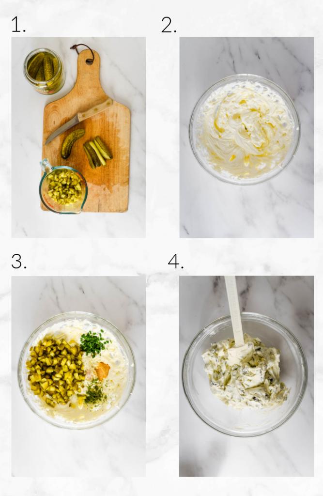 mixing ingredients for pickle dip