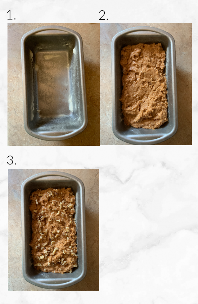 putting batter into loaf pan and sprinkling with walnuts
