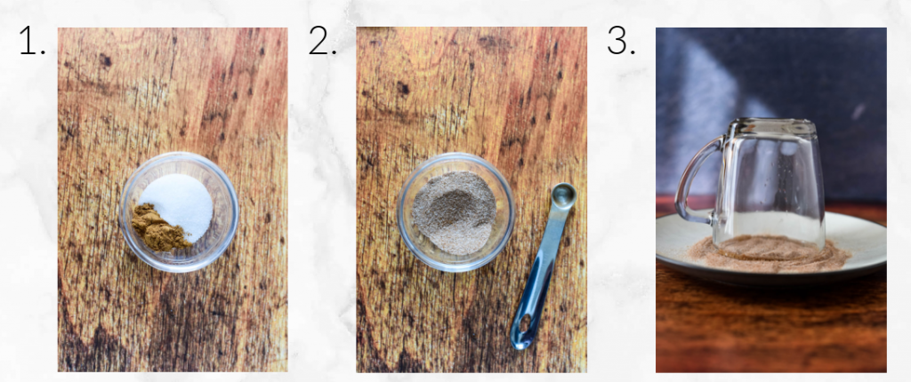 creating cinnamon sugar rim on glasses