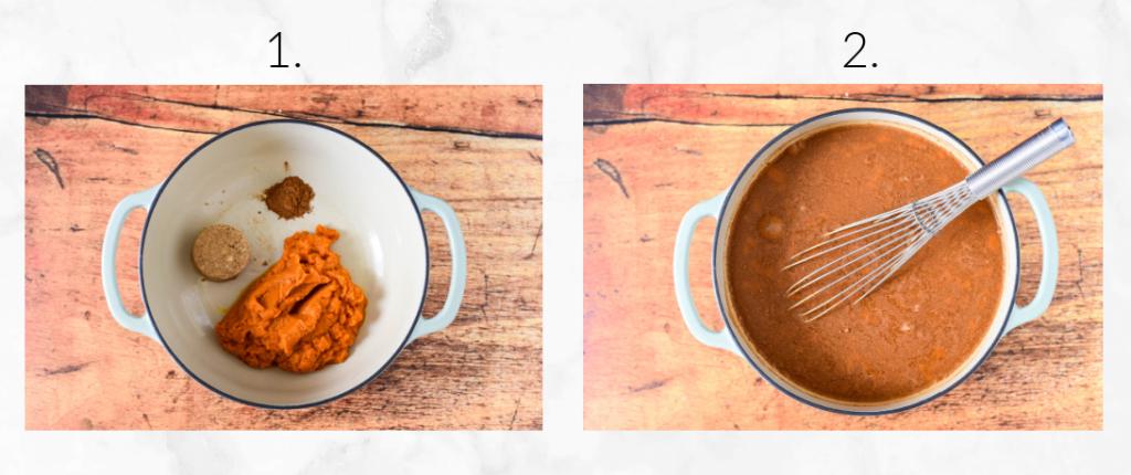 stirring ingredients for pumpkin juice
