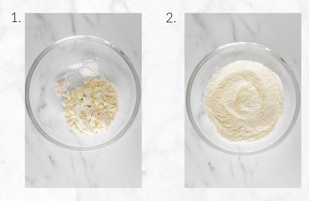 collage showing whisking dry ingredients