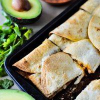 sheet pan quesadillas with avocado and salsa