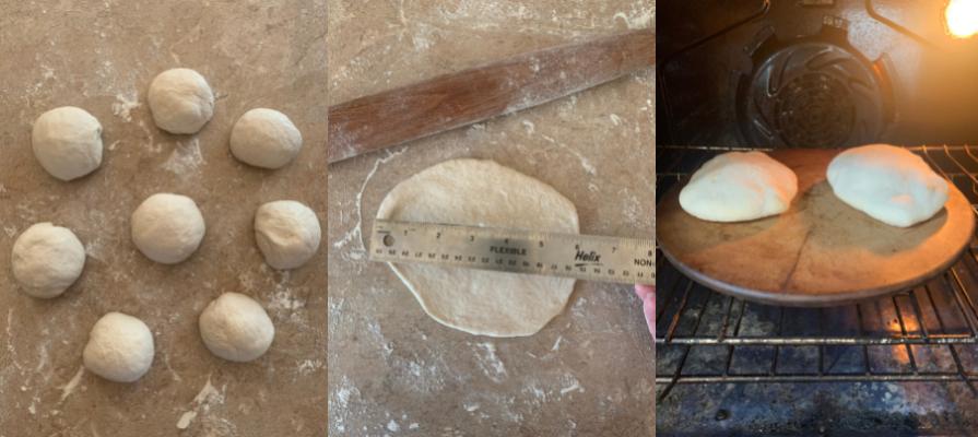 rolling and baking pita